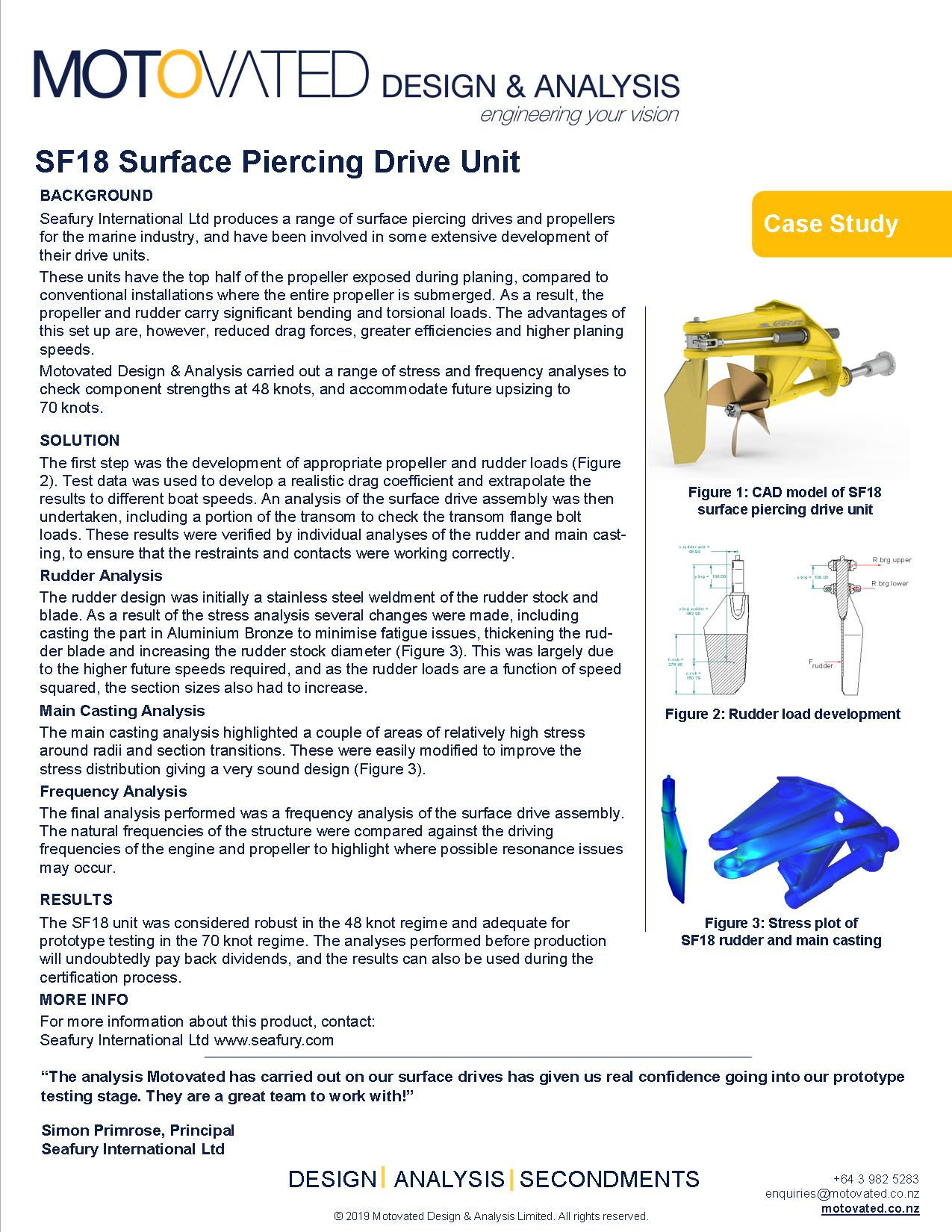 Motovated SF18 Surface Piercing Drive Unit Case Study